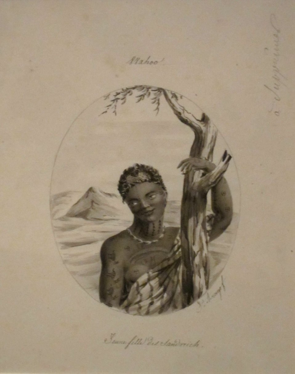 'O'ahu, a Young Woman of the Sandwich Islands' by Jacques Arago, Honolulu Museum of Art.JPG
