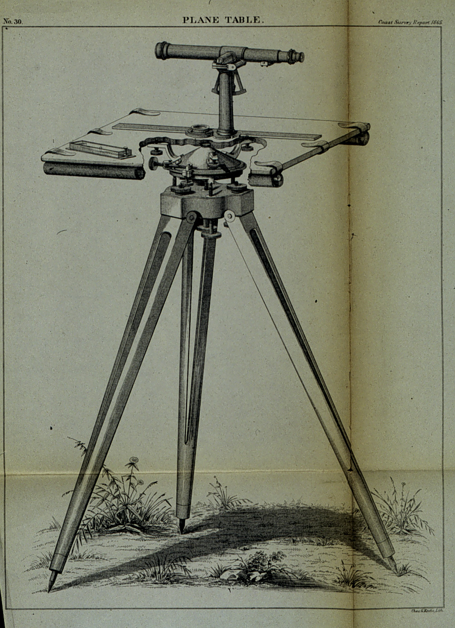 Diagram of plane table with cutaway showing tripod head. C&GS Superintendent's Report for 1865