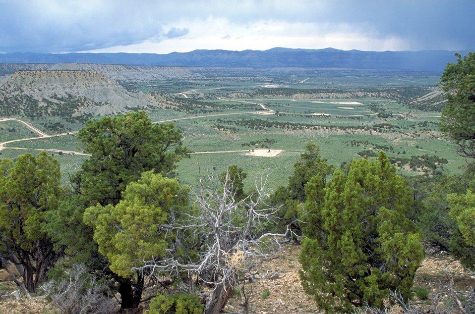 Overlooking coal bed methane production units near Price, Utah.