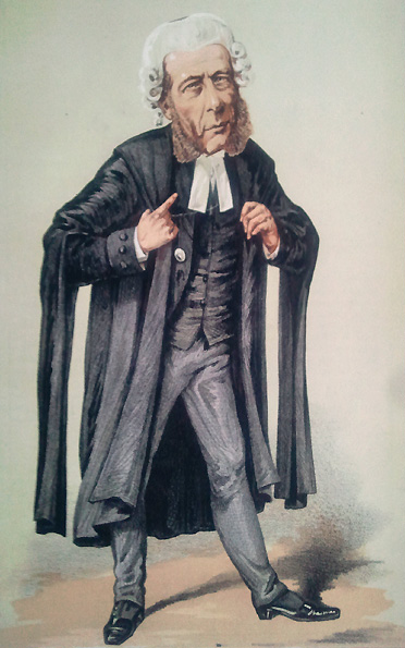 Caricature of William Ballantine. Caption reads 'He resisted the temptation to cross-examine a Prince of the blood'.