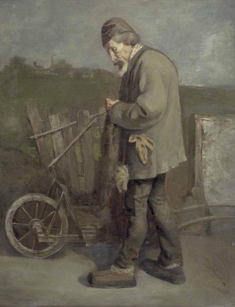 'Älterer Herr mit Schubkarre und Jutesack', unten rechts signiert und datiert: Al. Schornböck, München (18)87, Öl auf Leinwand, ca. 90 x 68 cm