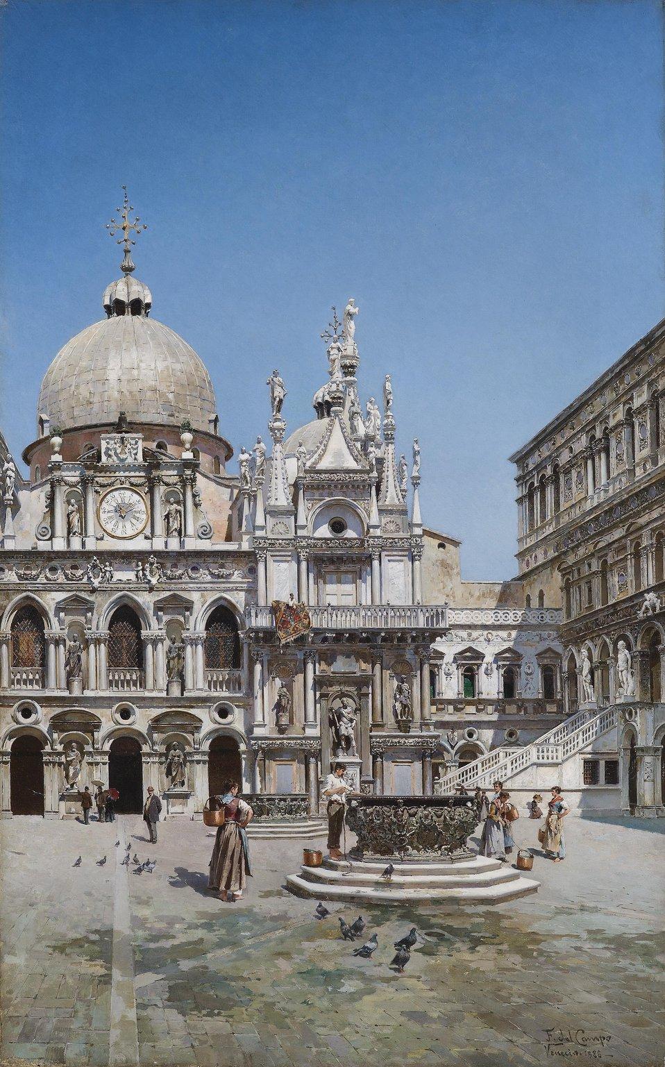 Innenhof des Palazzo Ducale in Venedig, signiert, bezeichnet und datiert F. del Campo Venezia 1888, Öl auf Leinwand,95 x 60 cm