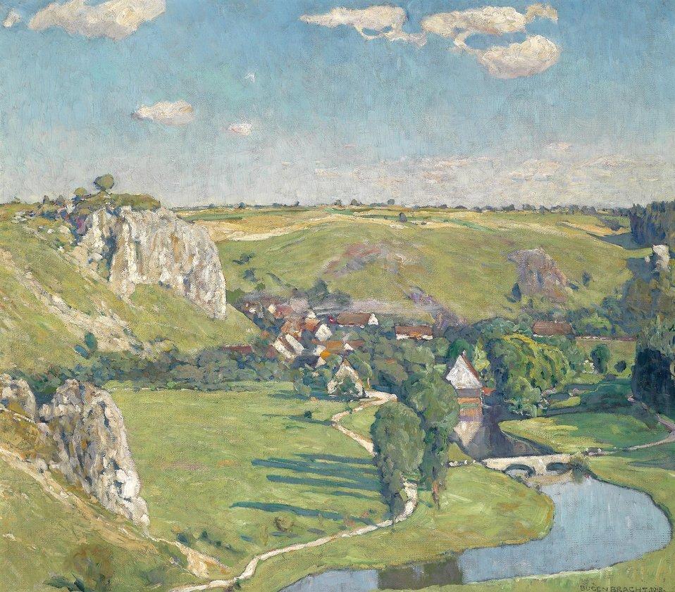 'Schwäbisches Dorf', rückseitig betitelt und mit Nummer 1718 bezeichnet, signiert, datiert Eugen Bracht 1918, Öl auf Leinwand, 80 x 90 cm
