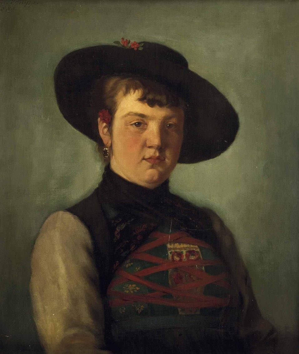 Deutsch:  Frau in bayrischer Tracht. Signiert und datiert: Ed. Schupp 1889, Öl auf Leinwand, ca. 61,5 x 52 cm