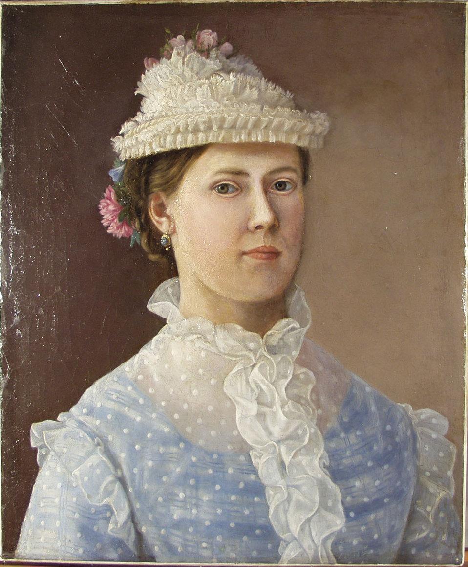 """Selbstportrait eienr Dame (rückseitig unleserlich bezeichnet, lesbar: 1874 und """"sich selbst gemalt""""). Öl auf Leinen; 48,0 x 40,0 cm."""