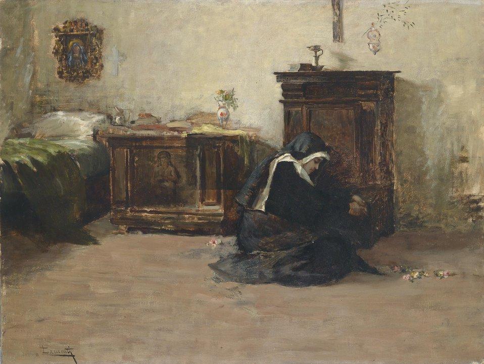 Junge Klosterschwester in ihrer Zelle, signiert Laurenti, Öl auf Leinwand, 47,5 x 61,3 cm