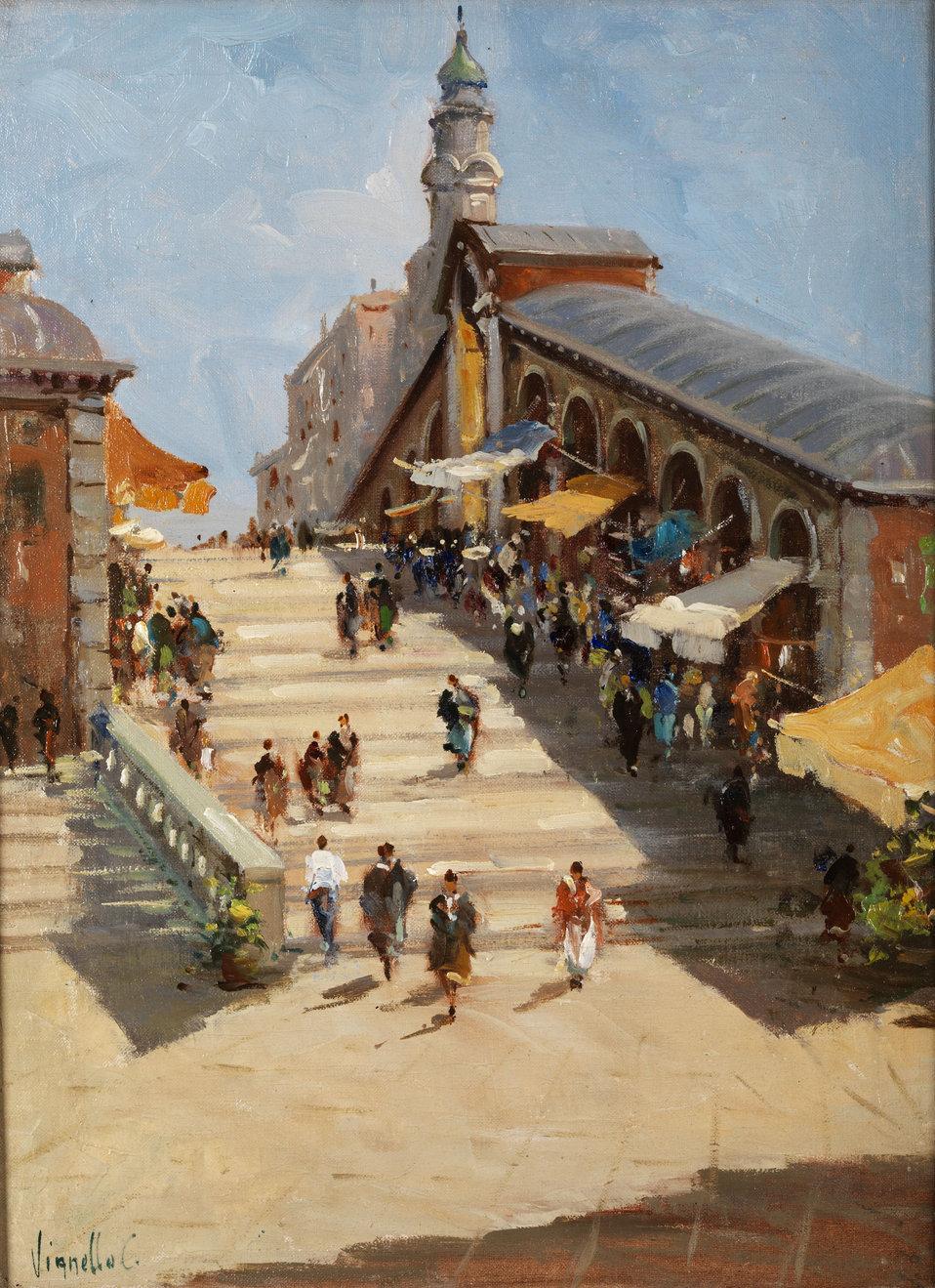 Die Rialtobrücke in Venedig. Öl auf Leinwand. 30,5 x 40,5 cm. Links unten signiert.