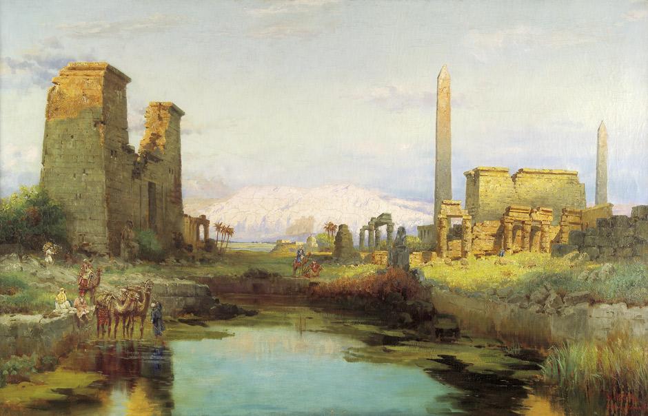 Morgenstimmung am heiligen See von Karnak. Öl auf Leinwand. 111 x 163 cm. Unten rechts signiert, datiert und betitelt 'C. Wuttke. Luksor-Karnak 1911'.