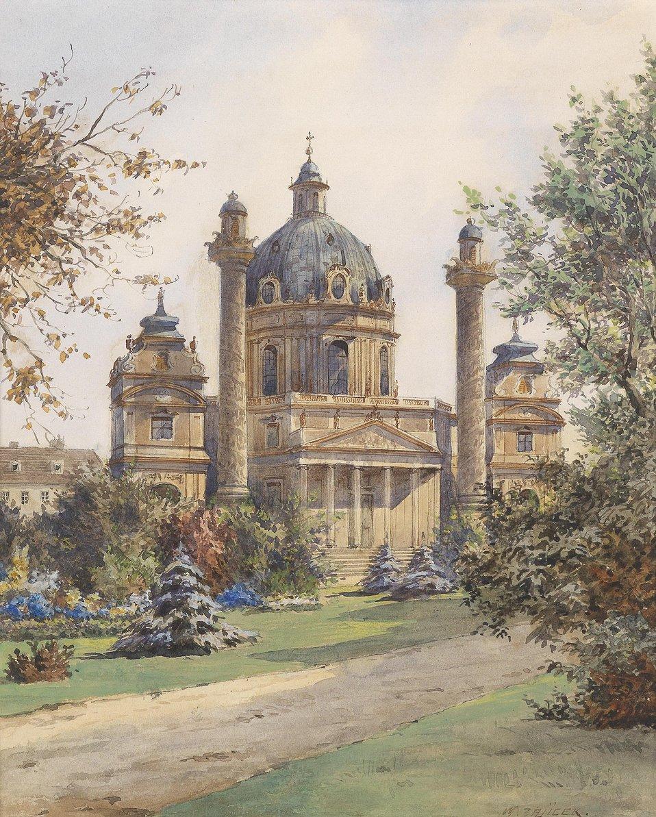 Deutsch:  Die Karlskirche in Wien, signiert K. W. Zajicek, Aquarell auf Papier, 23 x 18 cm