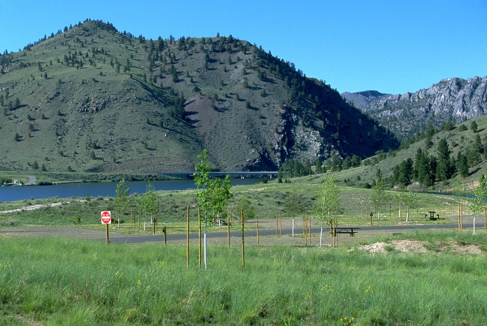 View of Devils Elbow Campground with York Bridge in background