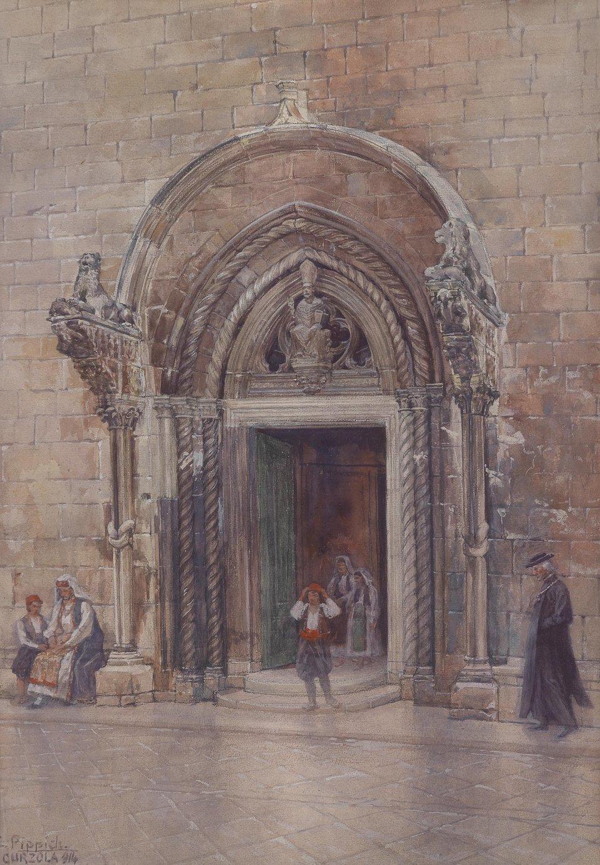 Deutsch:  Eingang zum Dom von Curzola auf der gleichnamigen Insel, betitelt, signiert und datiert C. Pippich, Curzola (1)911, Aquarell auf Karton, 50 x 37 cm