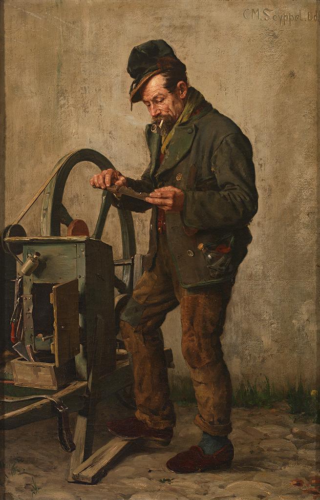 Deutsch:  Messerschleifer sinniert über der Arbeit. Öl auf Leinwnad, 73,5 x 47 cm. Signiert, bezeichnet Düsseldorf.