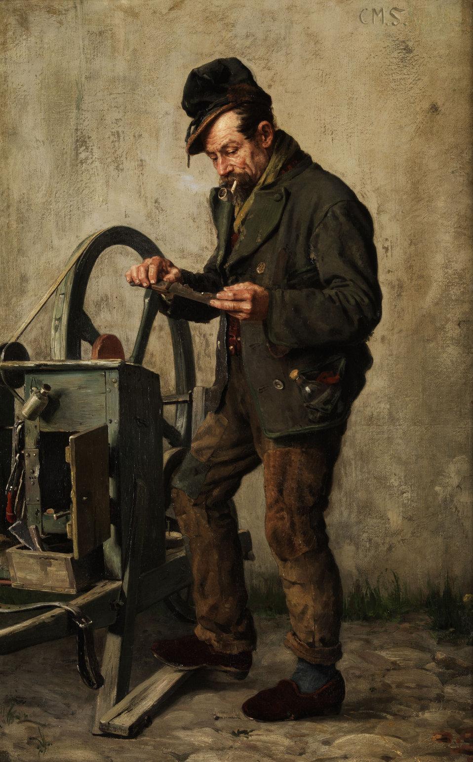 """Der Messerschleifer. Öl auf Leinwand. 72,5 x 47 cm. Von Signatur noch Monogramm """"C. M. S."""" übrig."""