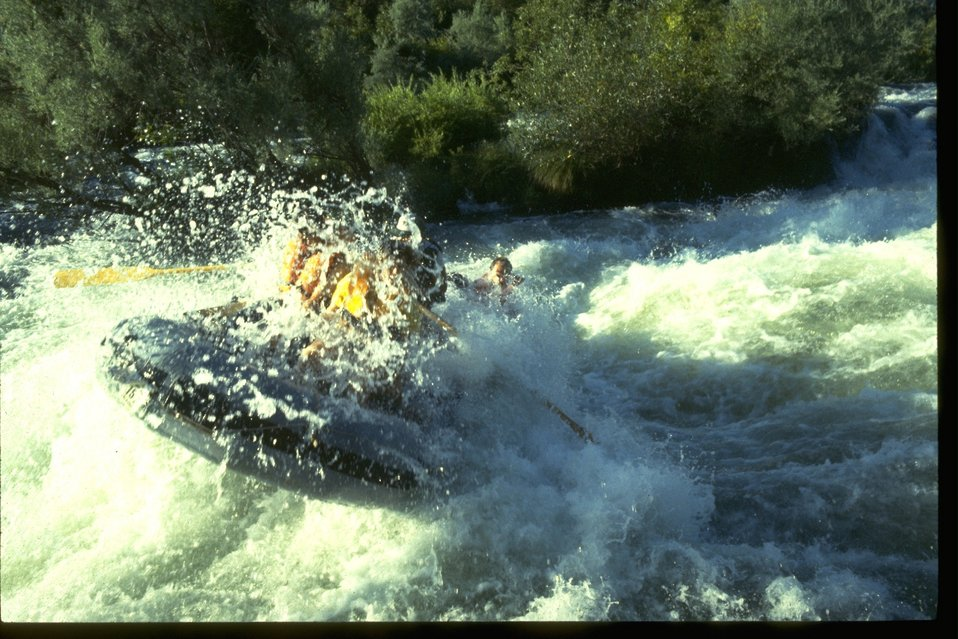 Rafting through the whitewater rapids of Nugget Falls on the Rogue River.