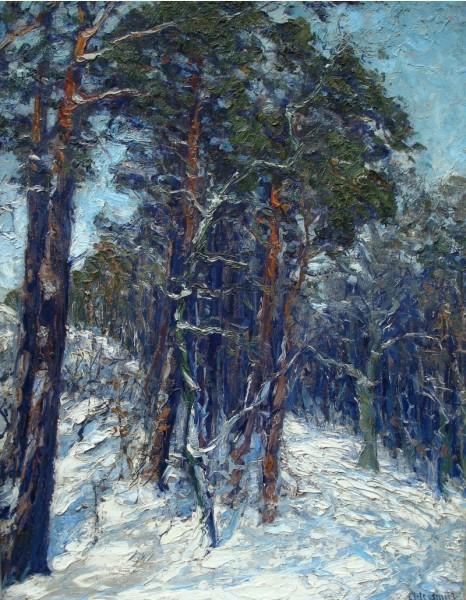 Winterwald, wohl vor 1900, Ölgemälde, 72,5 x 54,5 cm