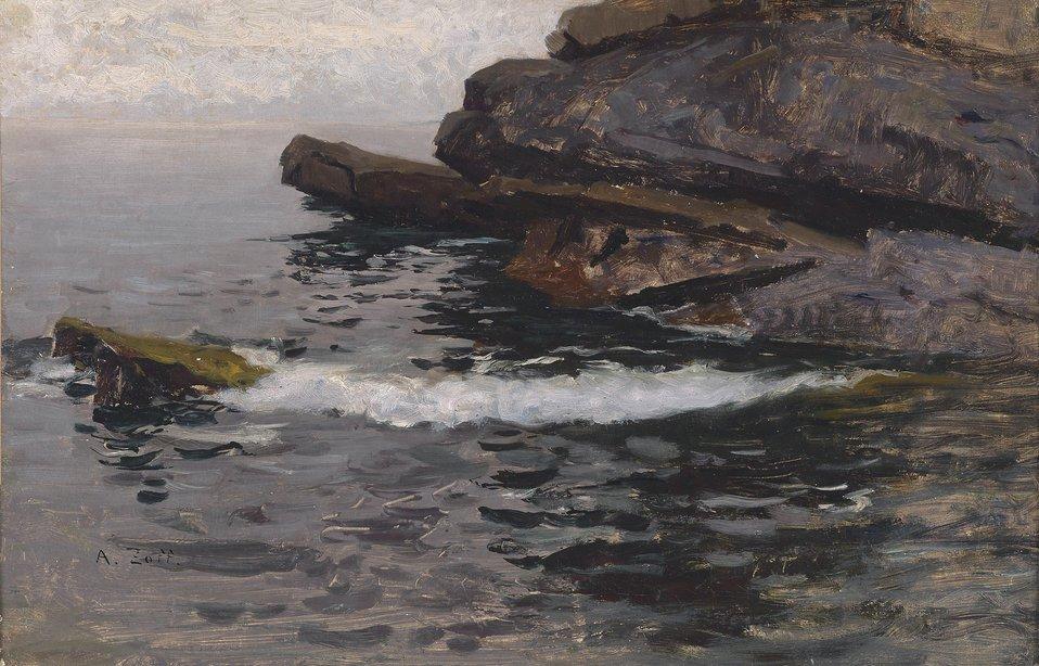 Deutsch:  Felsküste bei Capo Lungo (Nervi), signiert A. Zoff, rückseitig bezeichnet 'Küste Capo Lungo, Nervi 1880', Öl auf Papier auf Leinwand, 28 x 43,5 cm