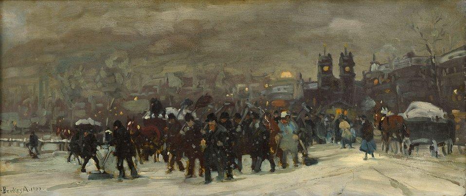 Wintertag (laut Auktionshaus 'in Paris'). Signiert. Datiert 1922. Öl/Lwd., 36 x 82 cm