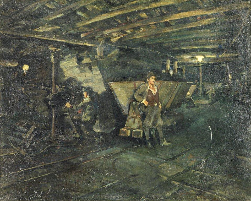 Deutsch:  Bergbauszene, signiert, datiert A. Marussig 1920, Öl auf Leinwand, 60 x 75 cm