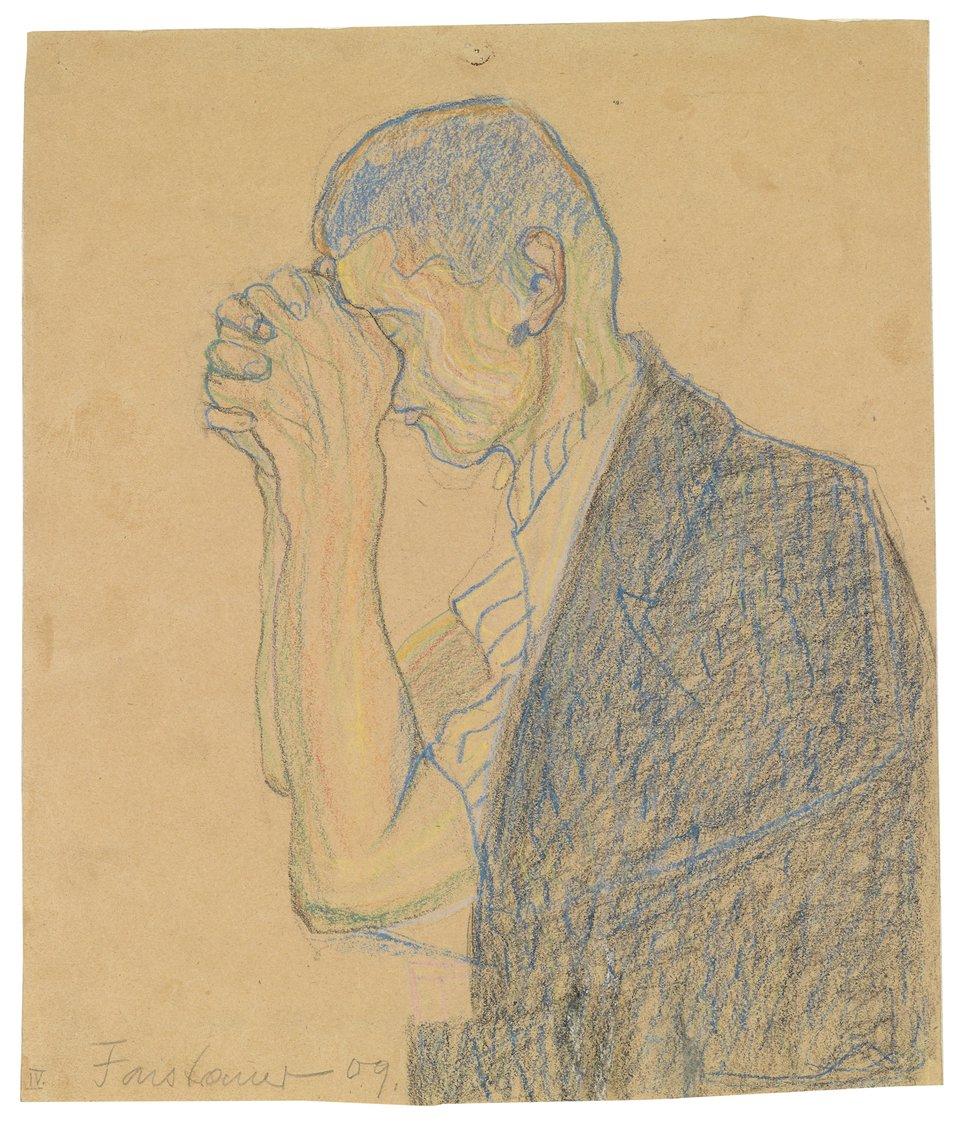 'Studie, betender Mann', monogrammiert und mit Faistauer 09 sowie im linken Eck unten mit IV. bezeichnet, Farbkreide auf Papier, 34,5 x 29 cm