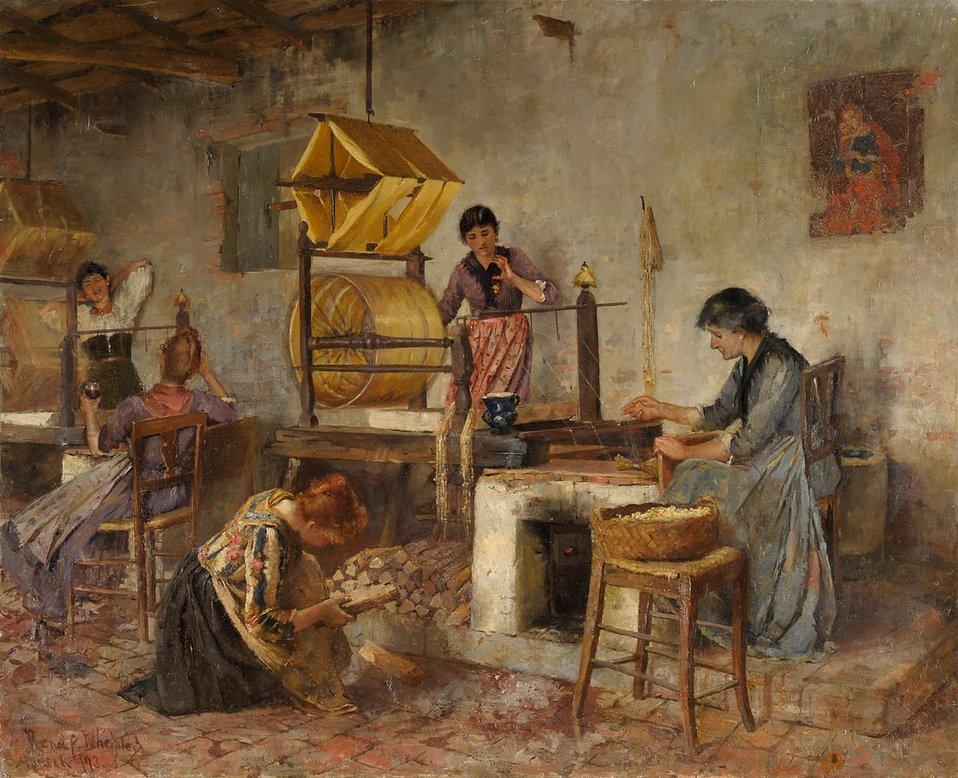 Deutsch:  Italienische Frauen mit Haspeln. Signiert. Datiert (18)93, Öl/Lwd./doubl., 100 x 123 cm Italian woman with Spinners weasels (clock reels)