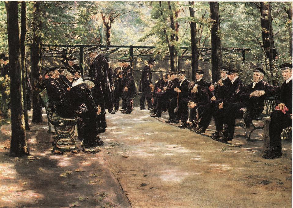 Deutsch:  'Altmännerhaus in Amsterdam', Öl auf Holz. 55,3 x 75,2 cm. Sammlung G. Schäfer, Schweinfurth.