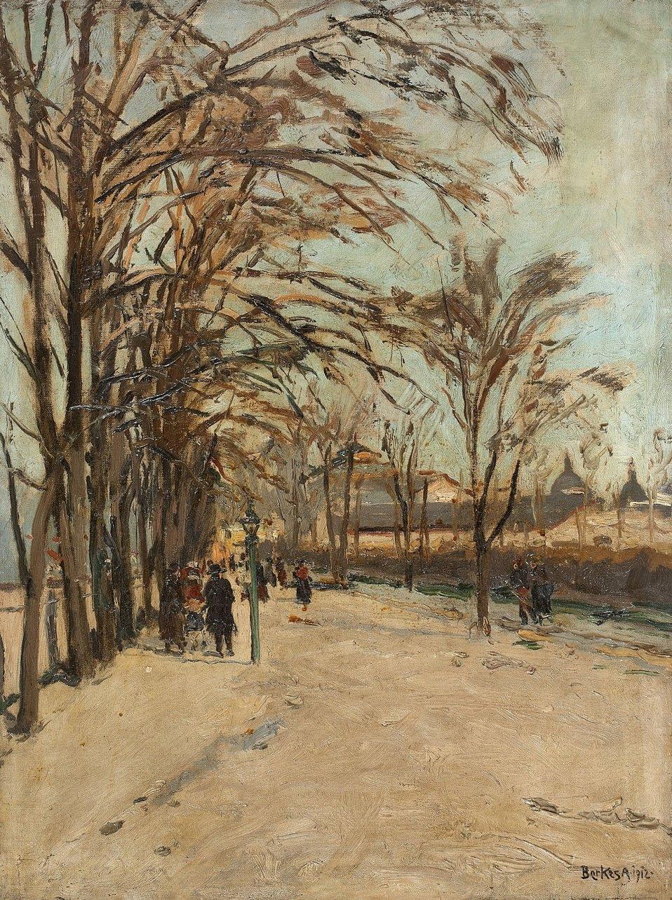 Deutsch:  Spaziergänger in einer Allee. Signiert und datiert unten rechts: Berkes A. 1912. Öl auf Leinwand. 63,5 x 47 cm