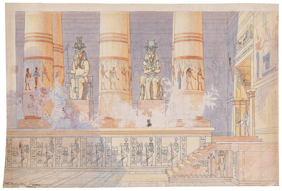 Bühnenbildentwurf für die Oper Aida, bezeichnet und datiert 'Kolaritsch, Wien 1910', Aquarell über Bleistift und schwarzer Tuschfeder auf Papier, 31 x 46,5 cm