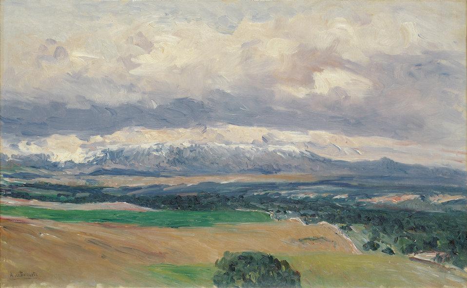 View of the Sierra de Guadarrama from El Plantío. Oil on canvas, 48.7 x 78 cm, Inv. CTB.1999.21    Museo Carmen Thyssen         Native name Museo Carmen Thyssen   Location Málaga, Spain    Coordinates 36°43′17″N, 4°25′22″W
