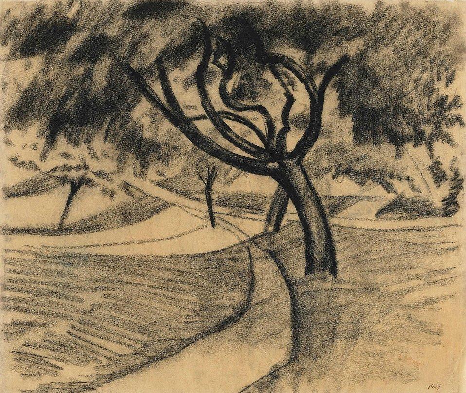 Baum und Felder, Kohle auf transparentem Papier. 27 x 32 cm. Bezeichnet unten rechts mit Tinte: 1911. Ovaler Nachlassstempel (Lugt 1775 b) verso oben Mitte. Daneben von Elisabeth Erdmann-Macke mit Bleistift betitelt und datiert.