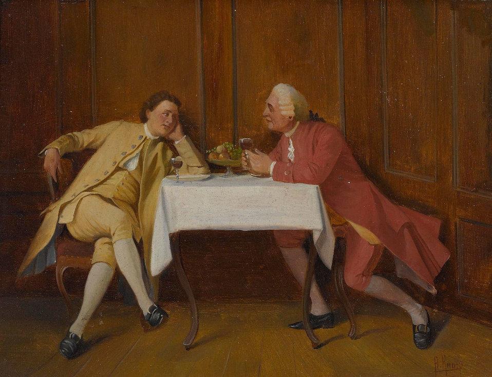 Rokoko-Kavaliere im angeregten Gespräch. Sgniert. Öl auf Holz. 16 x 21 cm