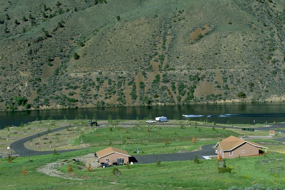 View of the campsites at Devils Elbow Campground
