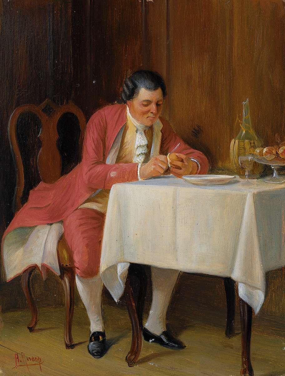 Deutsch:  Eleganter Herr im Habit des Rokoko beim Dessert. Öl auf Holz. 17,5 x 13,5 cm