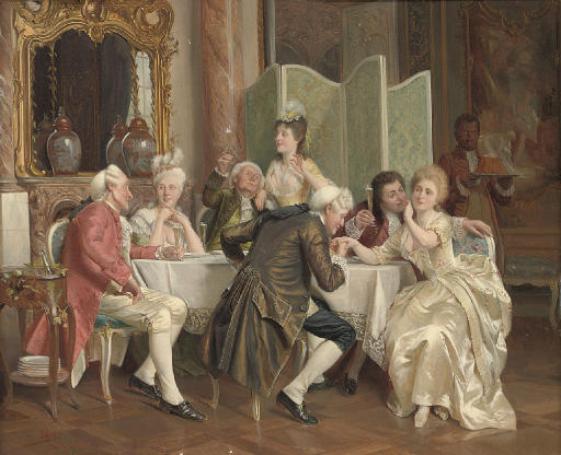A toast. Signed, inscribed and dated A. Knoop/München.1893), oil on panel 27.3 x 33 cm