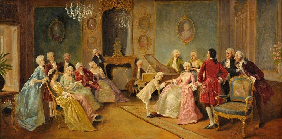 Der junge Mozart. Signiert. ÖL/Lwd., 70 x 140 cm