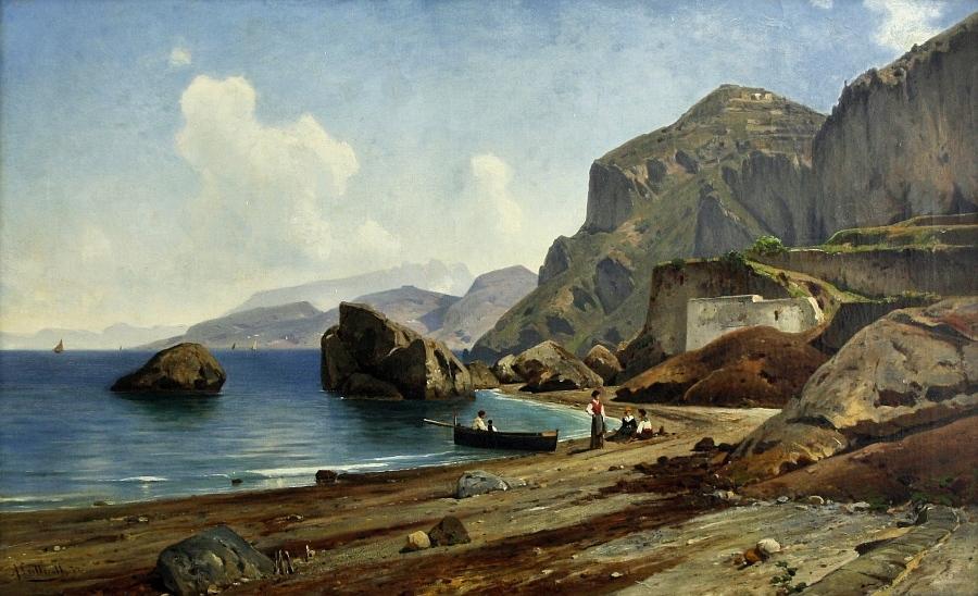 'Grosse Marine auf Capri', Öl auf Leinwand, 61 x 101 cm, unten links handsigniert und datiert 'A. Lutteroth (18)74', verso auf dem Keilrahmen signiert und betitelt 'A. Lutteroth Grosse Marine auf Capri'