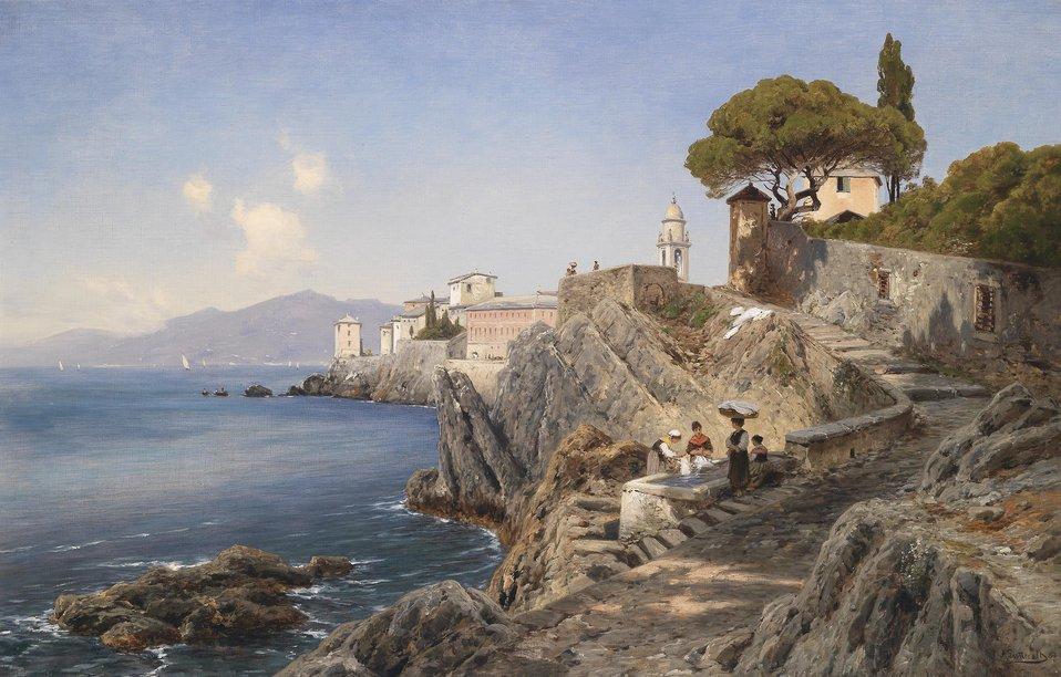 Deutsch:  Am Ufer vor Sturla bei Genua, signiert, datiert A. Lutteroth(18)87, Öl auf Leinwand, 65 x 100 cm