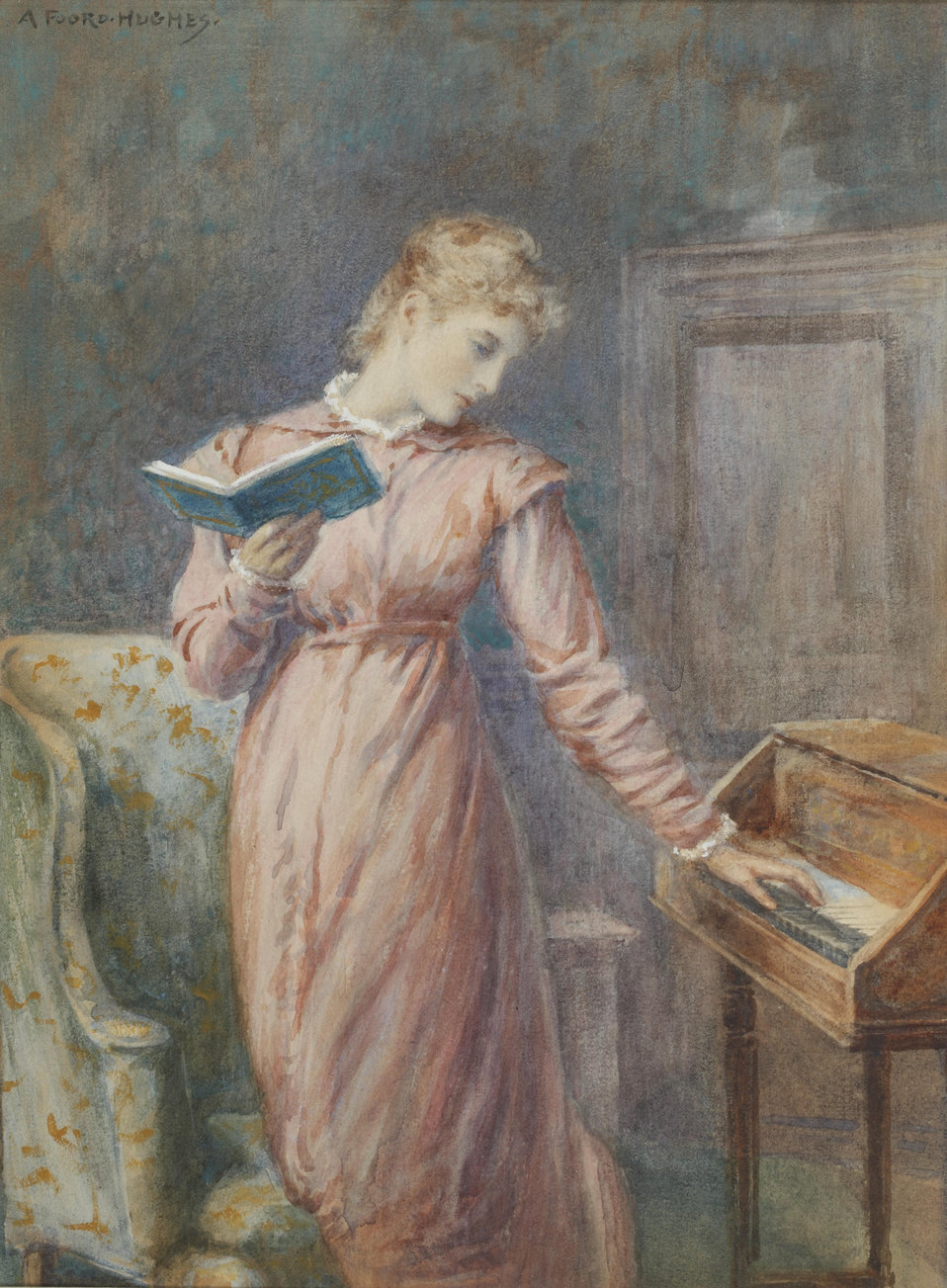 A lady reading while playing the spinet; signed 'A Foord-Hughes' (upper left); watercolour heightened with bodycolour; 32 x 23.5 cm