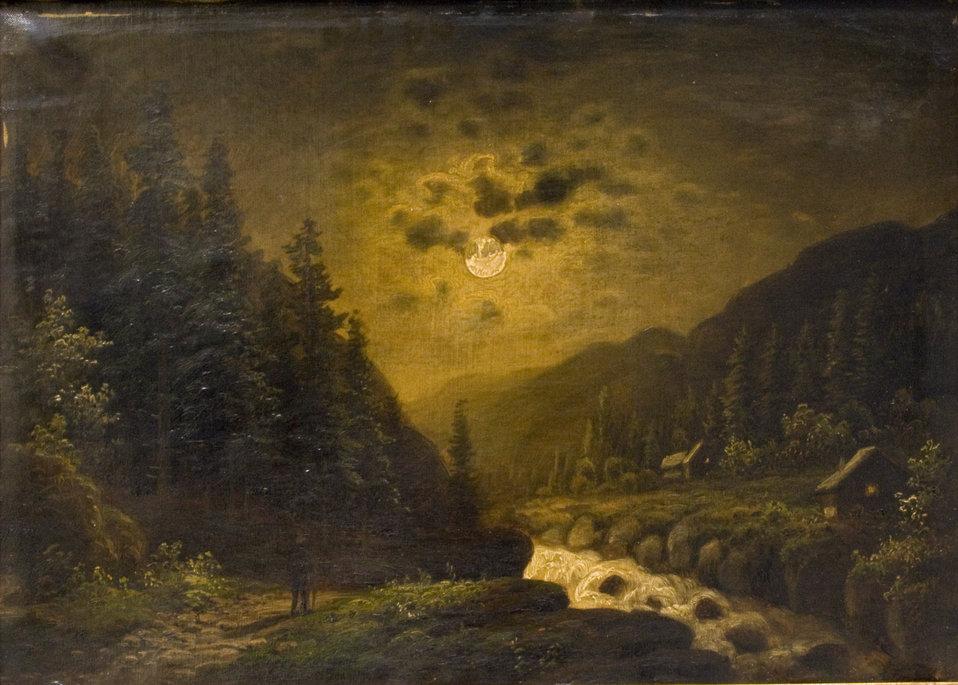 Deutsch:  Wanderer im Mondschein. Signiert A. Forstmann. 65,5 x 47,5 cm