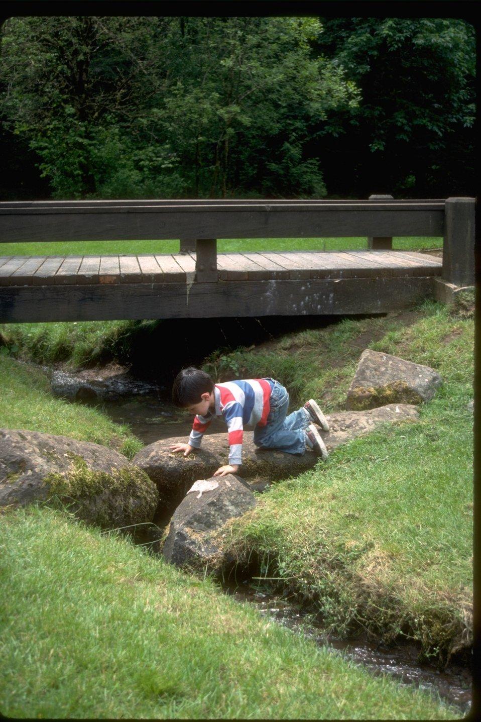 Child explores Shotgun Park along bank of brook.
