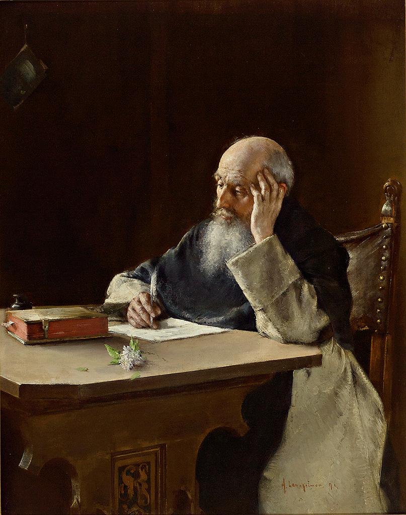 Portrait eines schreibenden Mönches in seiner Klause, Öl/Lwd. 57 x 45 cm