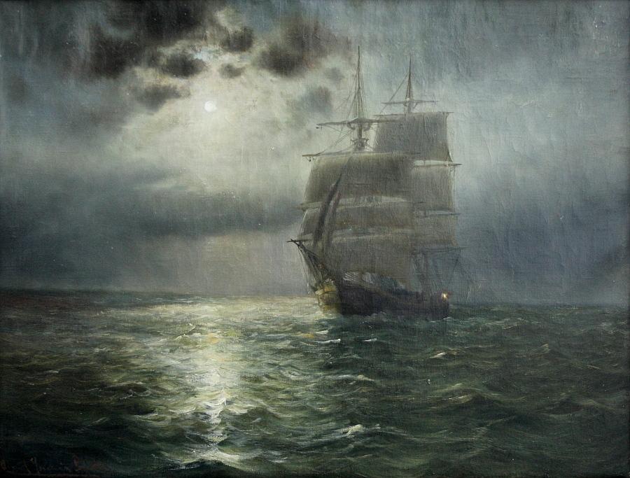 'Mondnacht im Kattegat', Öl auf Leinwand, unten links signiert und datiert 'Alfred Jensen Prof. 1915', verso in dänisch betitelt 'Maaneskinsnat i. Kattegat', 53 x 70 cm