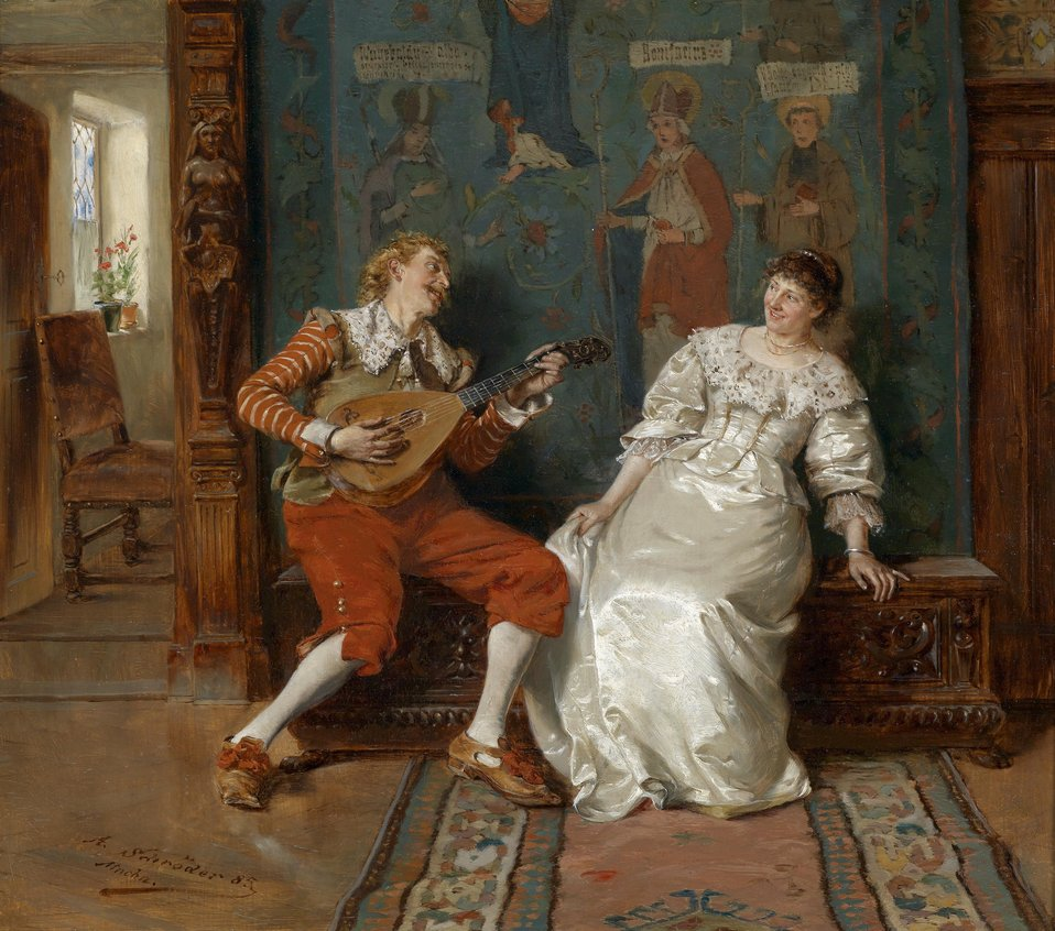 Musikalische Unterhaltung, signiert, datiert, bezeichnet A. Schröder (18)85, Mchn., Öl auf Holz, 36 x 41 cm