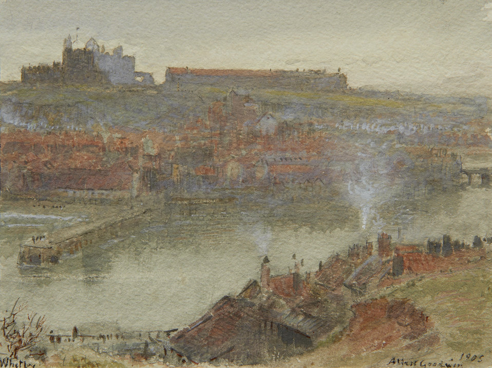View of Whitby, signed and dated 'Albert Goodwin/1905' (lower right) and inscribed 'Whitby' (lower left) watercolour with traces of pencil and heightened with white, 13 x 17 cm