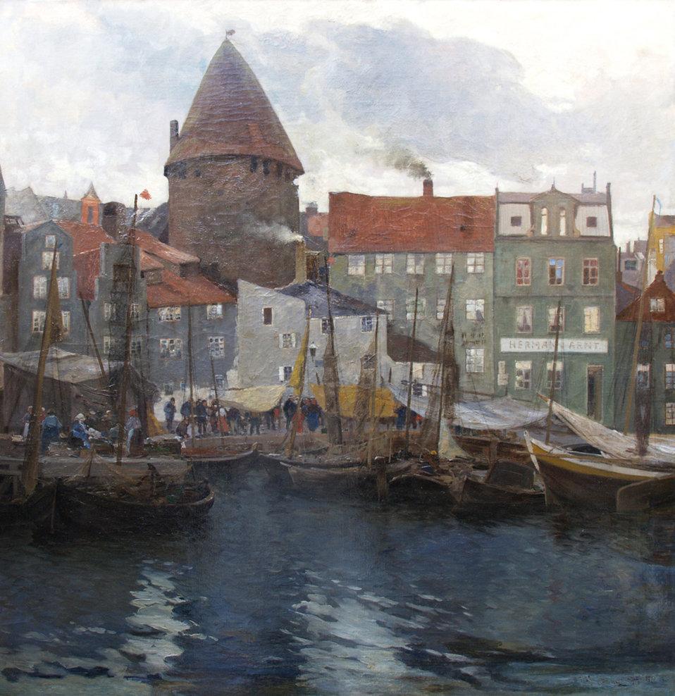 Reges Leben im Fischerhafen (von Danzig?). Ca. 98 x 100 cm.