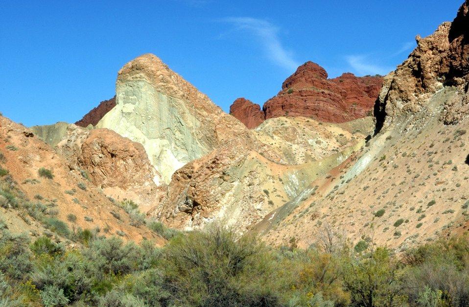 Multi colored rock, Onion Creek area near Moab, Utah.