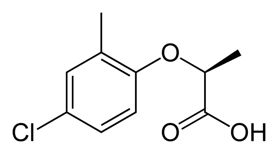 Skeletal formula of the (R) enantiomer of mecoprop, C10H11CIO3.