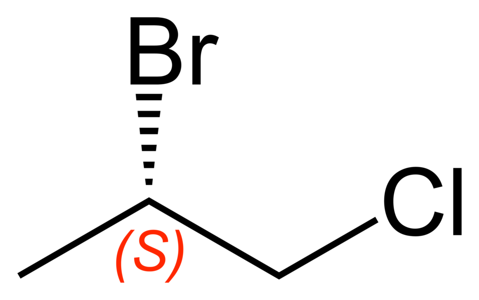 Skeletal formula of the S enantiomer of the 2-bromo-1-chloropropane molecule, C3H6BrCl.