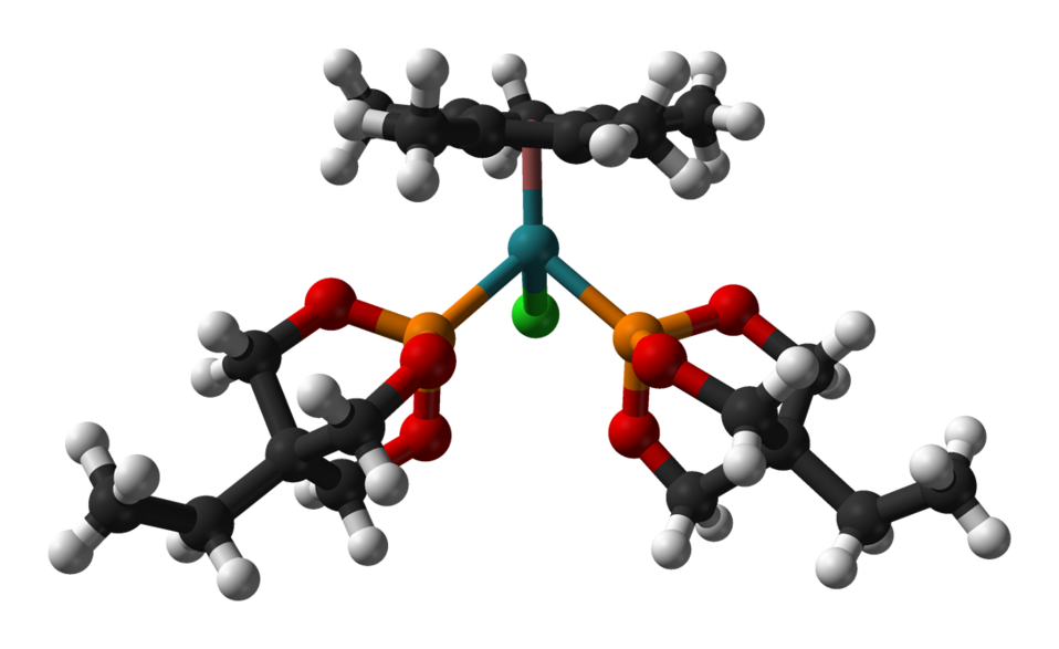 Ball-and-stick model of the caged phosphite complex (CpMe5)RuCl(EtCage)2 as found in the crystal structure. Colour code:  Carbon, C: black Hydrogen, H: white Phosphorus, P: orange Oxygen, O: red Ruthenium, Ru: turquoise Chlorine, Cl: green  Crystal struct