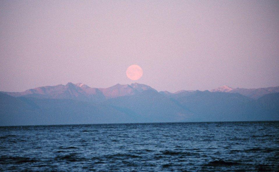 Moonrise in Chatham Strait.