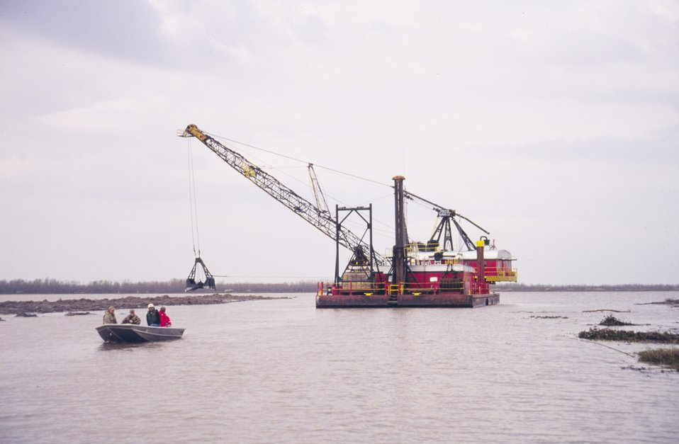 The bucket dredge at Natal Channel.